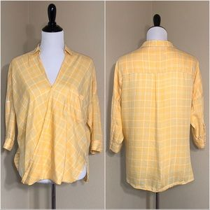 Holding Horses Yellow Plaid Wrap Top Size 6